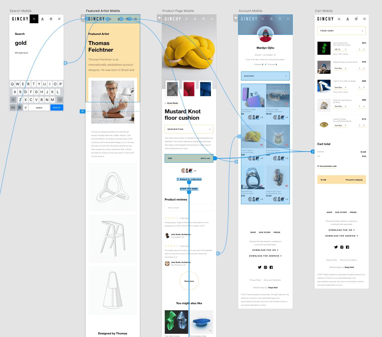 XD画面(Adobe公式練習サンプル)